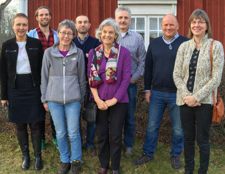 The review team at a meeting in March 2016. From left to right: Helene Bracht Jørgensen, Neal Haddaway, Ingrid Thomsen, Emanuele Lugato, Louise Jackson, Thomas Kätterer, Per-Erik Isberg, Katarina Hedlund. Photo: Sif Johansson.