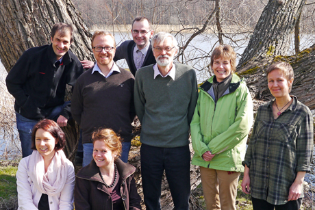 First meeting of the review team, April 2014. Standing, from left: Jörg Müller, Bege Jonsson, Asko Lõhmus, Claes Bernes, Ellen Macdonald, Kaisa Junninen. In front: Jennie Sandström and Miriam Matheis (master's student). Photo: Sif Johansson.