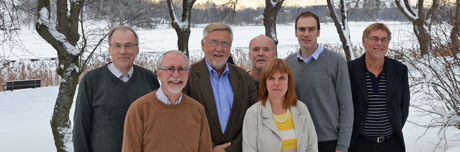 The review team met for the first time in early December 2012. From left to right: Anders Grimwall, Jos Verhoeven, William Mitsch, Carl Christian Hoffmann, Karin Tonderski, Magnus Land and Wilhelm Granéli. Photo: Claes Bernes.