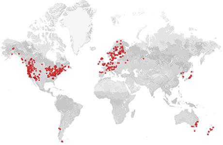 De flesta av de 812 skogsskötselstudier som ingår i kartläggningen har utförts i Nordamerika eller Europa.